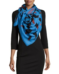 Kenzo Bamboo Leaves Defile Scarf Blue Red