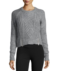 Christopher Fischer Chevron Knit Zip Detailed Crop Sweater Gray