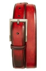 Magnanni Men's Big And Tall Burnished Leather Belt Red