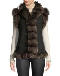 Belle Fare Suede Fur Trim Vest Black