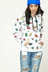 Forever 21 Pizza Print French Terry Hoodie Ivory Yellow