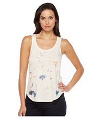Lucky Brand Floral Embroidered Tank Top Peach Echo Women's Sleeveless White