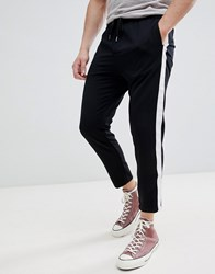 Pull And Bear Pullandbear Trousers With Side Stripe In Black