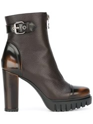 Loriblu Front Zip Ankle Boots Brown