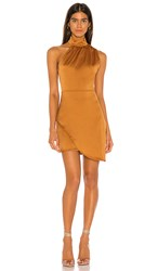 Kendall Kylie Satin Dress In Burnt Orange. Butterscotch