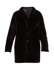 Yves Salomon Reversible Single Breasted Shearling Coat Black