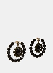 Marni Beaded Hoop Earrings Black