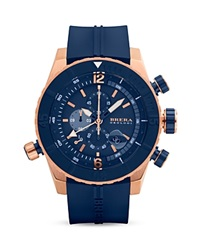 Brera Orologi Sottomarino Diver 14K Rose Gold And Navy Blue Ionic Plated Stainless Steel Watch With Navy Blue Rubber Strap 48Mm Multi