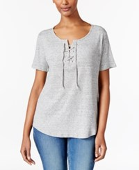Calvin Klein Jeans Lace Up Split Neck T Shirt Twitch Heather