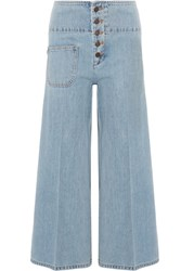 Marc Jacobs Cropped High Rise Wide Leg Jeans Light Blue