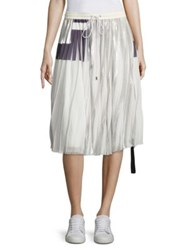 Public School Blaise Pleated Chiffon Skirt White Silver