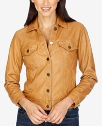 Lucky Brand Leather Trucker Jacket Cognac