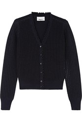 3.1 Phillip Lim Metallic Pointelle Knit Wool Blend Cardigan