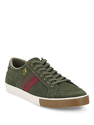 Original Penguin Leather Lace Up Sneakers Olive