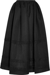 Emilia Wickstead Maribel Embroidered Cotton Blend Organza Midi Skirt Black