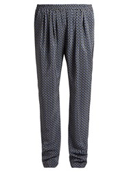 Stella Mccartney Christine Pleated Front Geometric Print Trousers Navy Print