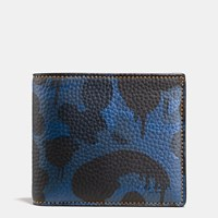 Coach Compact Id Wallet In Wild Beast Camo Print Pebble Leather Denim Wild Beast Yellow