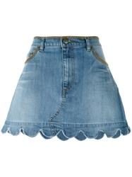 Red Valentino Scalloped Hem Denim Skirt Blue