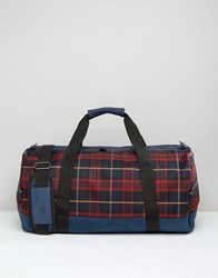 Mi Pac Weekend Duffle Travel Bag In Tartan Burgundy Red