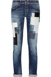 Just Cavalli Patchwork Mid Rise Skinny Jeans Blue