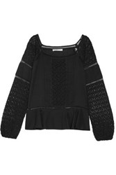 Chelsea Flower Crocheted Paneled Pintucked Cotton Top Black