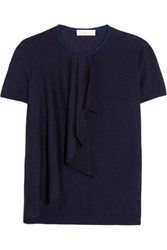 Tory Burch Tabia Ruffled Silk And Cashmere Blend Sweater Dark Gray