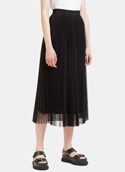 Msgm Long Pleated Tulle Skirt Black