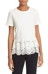 Kate Spade Women's New York Tiered Lace Flounce Tee Cream