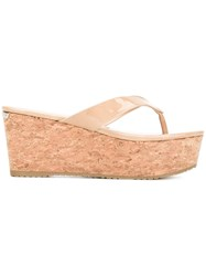Jimmy Choo Paque 70 Sandals Women Cork Patent Leather Rubber 36 Nude Neutrals