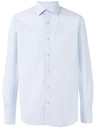 Xacus Thin Stripe Button Up Shirt Blue