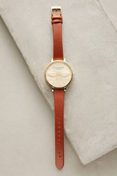 Anthropologie Queen Bee Leather Watch Taupe