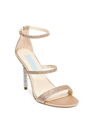Betsey Johnson Kelyr Triple Strap Glitter Dress Sandals Champagne