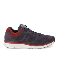Hogan Navy And Red Traditional 2015 Suede Sneakers Blue