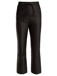 Isa Arfen Tie Waist Straight Leg Satin Cropped Trousers Black