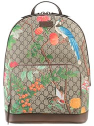 Gucci Tian Print Gg Supreme Backpack Women Leather Polyurethane One Size Brown