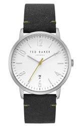 Ted Baker London Daniel Synthetic Strap Watch 42Mm White Black
