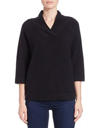 French Connection Boxy Tonal Placket Sweater Black
