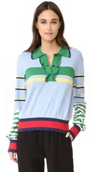 Hilfiger Collection Striped Ruffle Polo Sweater Blue Shadow Multi