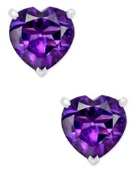 Macy's Amethyst Heart Stud Earrings 1 1 4 Ct. T.W. In Sterling Silver Purple