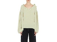 Balenciaga Women's Polka Dot Tieneck Blouse No Color