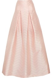 Alexis Sury Pointelle Trimmed Satin Maxi Skirt Pink