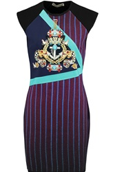 Mary Katrantzou Knipi Printed Jersey Paneled Ribbed Knit Dress Purple