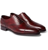 John Lobb Alford Museum Burnished Leather Cap Toe Oxford Shoes Burgundy