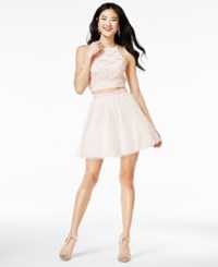 Speechless Juniors' 2 Pc. Glitter A Line Dress Blush