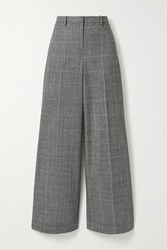 Theory Prince Of Wales Checked Wool Blend Wide Leg Pants Black