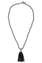Oscar De La Renta Tasseled Silver Tone Faux Pearl And Crystal Necklace Black