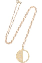 Andrea Fohrman Half Moon Phase 14 Karat Gold Diamond Necklace