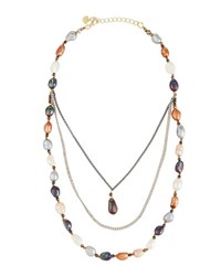Nakamol Triple Layer Multicolored Freshwater Pearl Necklace