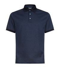 Gieves And Hawkes Striped Cotton Polo Shirt Male Navy