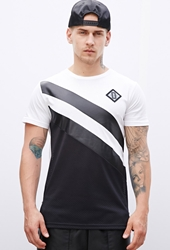 Forever 21 Defyant Faux Leather Paneled Mesh Tee White Black